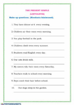 Interactive worksheet The present simple (questions)