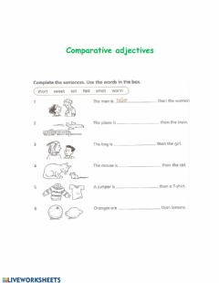 Interactive worksheet Comparison