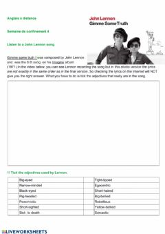 Interactive worksheet Protest songs & compound adjectives