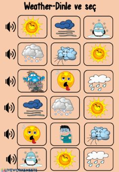 Interactive worksheet Weather,Months listen and choose
