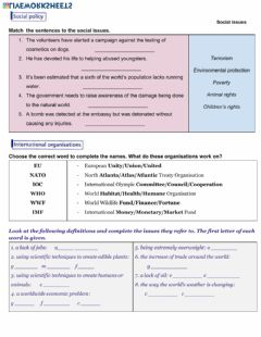 Interactive worksheet Social Issues-Vocabulary