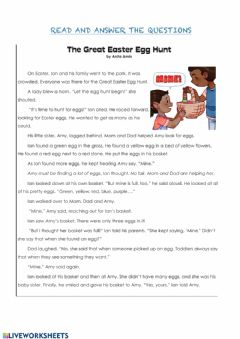 Interactive worksheet Easter reading