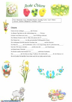 Interactive worksheet Ostern Lückentext