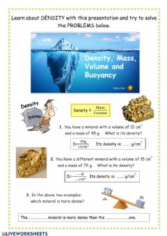 Interactive worksheet Density. Power Point and Problems