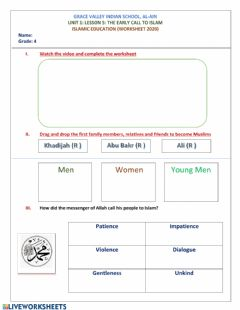 Interactive worksheet Beginning of the call to islam
