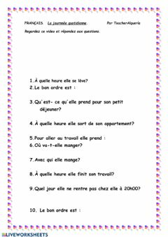 Interactive worksheet La journee quotidienne