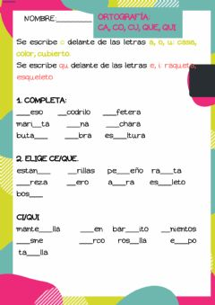 Interactive worksheet Ca, co, cu, que, qui