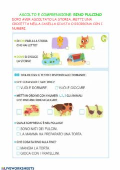 Interactive worksheet Ascolto e comprensione Rino Pulcino