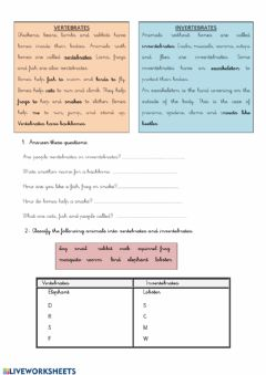 Interactive worksheet Vertebrates and invetebrates