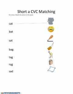 Ficha interactiva CVC Short a Matching