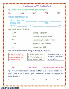 Interactive worksheet Place value