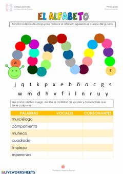 Interactive worksheet El alfabeto