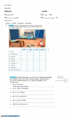 Interactive worksheet This-that, these-those