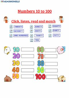 Interactive worksheet Numbers 10 to 100