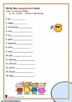 Interactive worksheet Comparative form