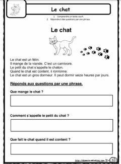 Interactive worksheet French reading-Francais lecture