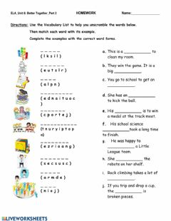 Interactive worksheet Unit 6 - Vocabulary Part 2 Vocabulary