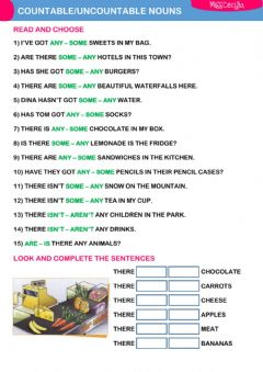 Interactive worksheet Countable uncountable nouns