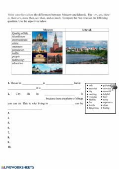 Interactive worksheet Compare two cities