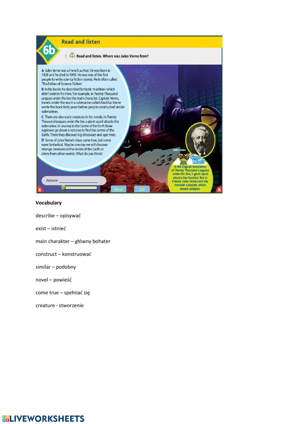- Science Fiction - Reading - Interactive Worksheet
