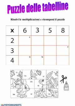 Interactive worksheet Moltiplicazioni in tabella