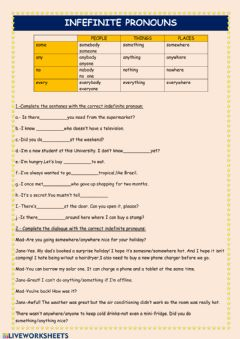 Interactive worksheet Indefinite pronouns &quantifieres
