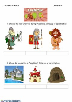 Interactive worksheet Paleolithic times