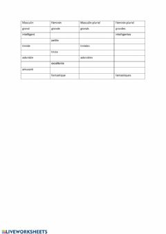 Interactive worksheet Les adjectifs
