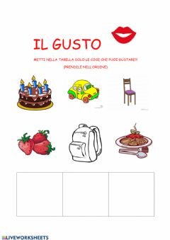 Interactive worksheet Il gusto