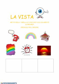 Interactive worksheet La vista