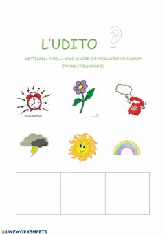 Interactive worksheet L'udito