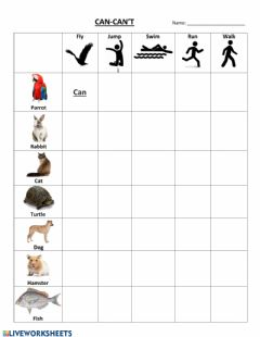 Interactive worksheet Animals Can or Can't