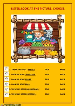 Interactive worksheet At the greengrocer-s