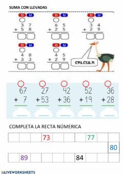 Interactive worksheet Sumas con llevada 2