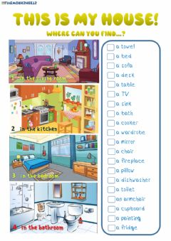 Interactive worksheet My house, Furniture