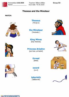 Interactive worksheet Theseus and the Minotaur