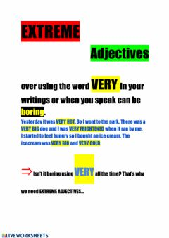 Interactive worksheet Extreme adjectives