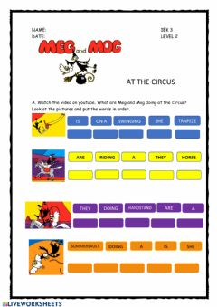 Interactive worksheet Meg and Mog at the Circus