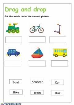Interactive worksheet Transport Drag and drop