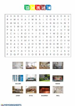 Interactive worksheet House wordsearch