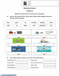 Interactive worksheet Worksheet science friction 2