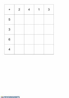 Interactive worksheet Tablica zbrajanja do 10
