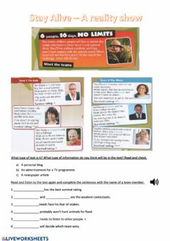 Interactive worksheet Stay Alive