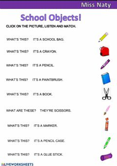 Interactive worksheet School Objects 5