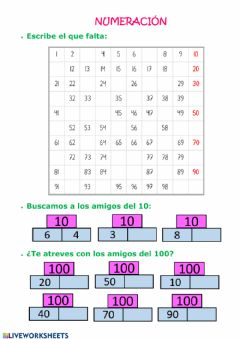 Interactive worksheet 20 abril Numeración
