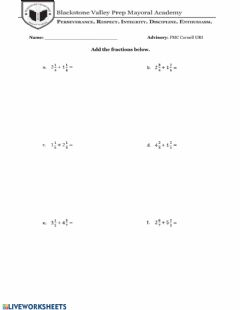 Interactive worksheet Adding - Subtracting Fractions with Mixed Numbers
