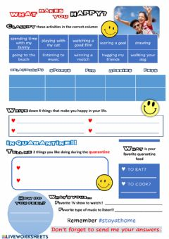 Interactive worksheet What makes you happy?