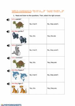 Interactive worksheet WILD ANIMALS (Is it? - Are they?)