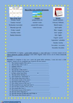 Interactive worksheet UDA 3.2 Days of the week, months, seasons (In, on, at)