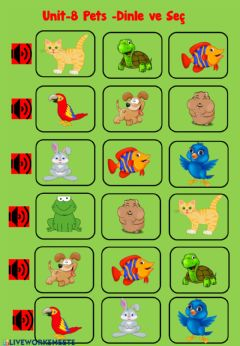 Interactive worksheet Pets-Body Listen and choose